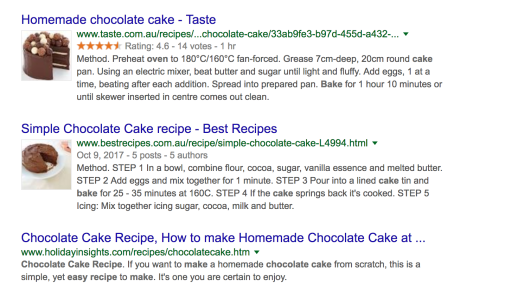 results from a Google search on baking chocolate cakes
